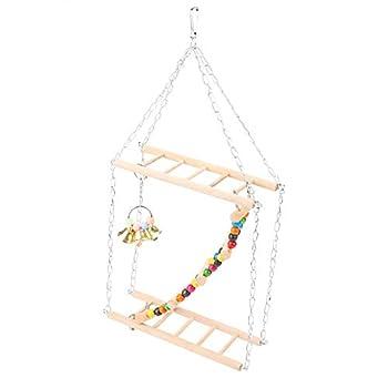 Gonnely Échelles-Animal Suspendu échelle Pont marches escalier Escalade balançoire Double Couche Bois Hamster Cage Jouet