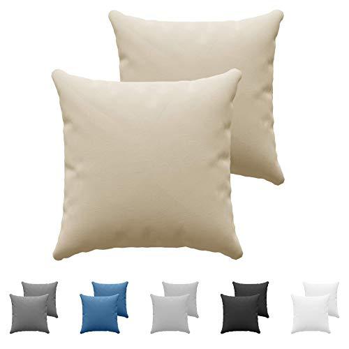 Set da 2 x Federa Cuscino 60x60 cm, Beige Cotone, Dreamzie - 100% Jersey di Cotone - Federa da Cuscino 60x60 - Copri Cuscino per Letto - Fodera Protezione per Cuscino