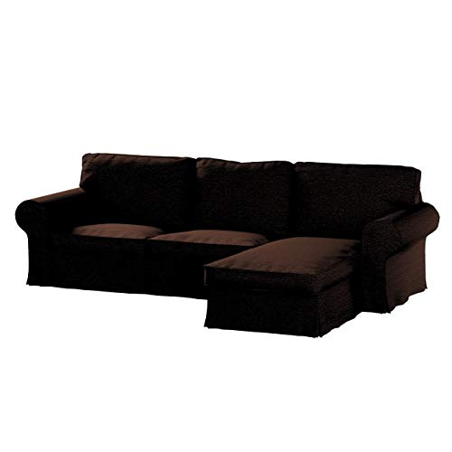 Dekoria Ektorp 2-Sitzer Sofabezug mit Recamiere Sofahusse passend für IKEA Modell Ektorp braun