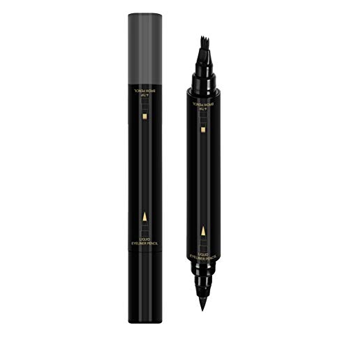 Onkessy 2-en-1 crayon à sourcils et eye-liner avec un applicateur de pointe de micro-fourchette imperméable à l'eau longue durée liquide stylo eye-liner maquillage des yeux outil cosmétique