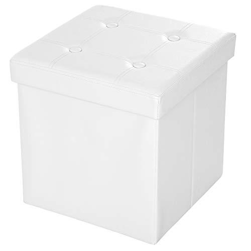 SONGMICS Taburete Plegable, Asiento, Caja de Almacenamiento con Asas, Soporta hasta 300kg, Piel sintética, Profundidad de 38 cm, Blanco LSF30W