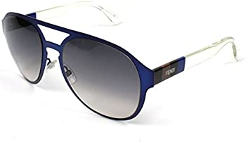 Fendi Pequin Aviator Blue Crystal Dark Grey Shade Sunglasses