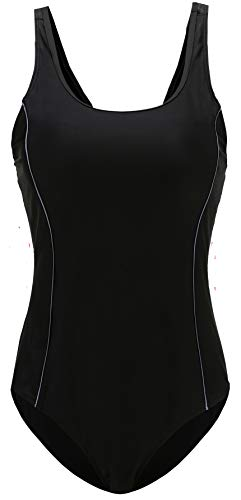 EBMORE Womens One Piece Swimsuit Bathing Suit Chlorine Resistant for Athletic Sport Training Exercise(Black Grey 12-14)