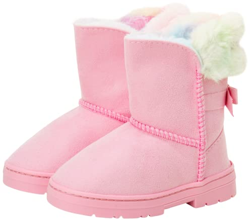 bebe Girls' Faux Fur Lined Winter Boots with Back Bow (Toddler/Little Kid/Big Kid), Size 5 Toddler, Pink Multi