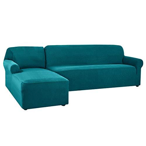 CHUN YI Funda de sofá en Forma de L, Elástica Funda para Sofa en Forma de L, Chaise Longue Protector de Muebles (Chaise Izquierda, Azul)
