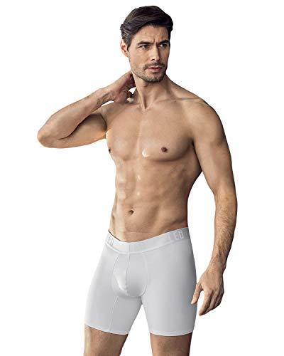 LEO Herren Push Up Boxershorts/Unterhose - Unterwäsche für Herren-Weiß-L