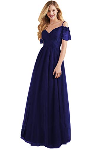 V Neck Floor Length Lace Bodice Evening Gown A Line Cold Shoulder Formal Prom Dress (Royal Blue-10) (Apparel)