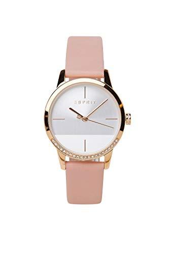 Esprit ES1L106L0055 Yen Uhr Damenuhr Lederarmband vergoldet 3 bar Analog Rosa