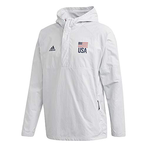 adidas Men's USA Volleyball Anorak Jacket Clear Gray/Collegiate Navy XXX-Large