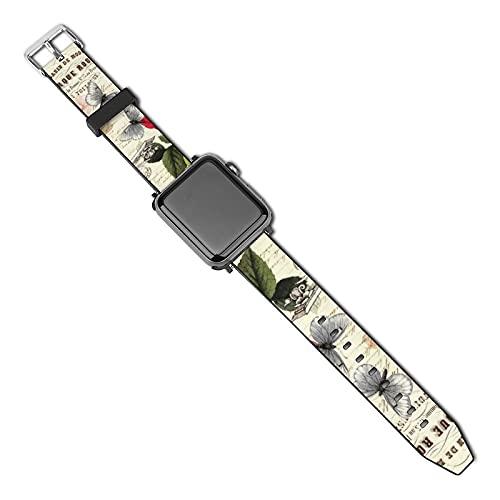 La última correa de reloj compatible con Apple Watch Band 38 mm 40 mm Correa de repuesto para iWatch Series 5/4/3/2/1, Vintage French Ephemera Rosas Mariposas Collage