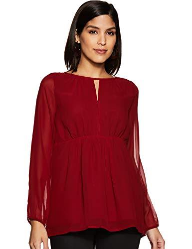 BESIVA Women's Plain Regular fit Top (BLS239D_M_Maroon Medium)