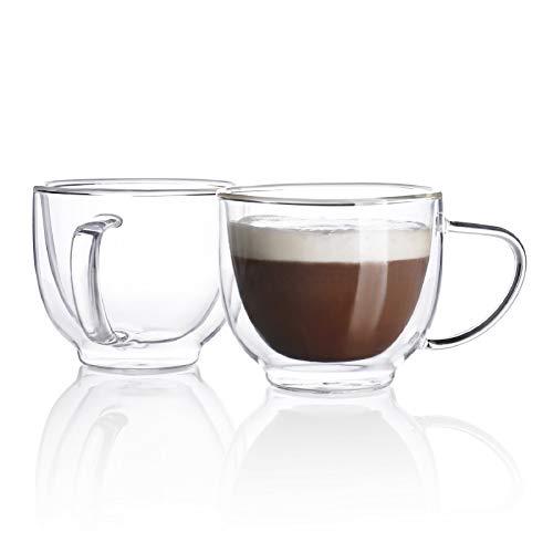 Sweese 419.101 Glass Cappuccino Cups - 7 Ounce Double Walled Coffee Glasses for Specialty Coffee Drinks, Latte, Cafe Mocha and Tea - Set of 2