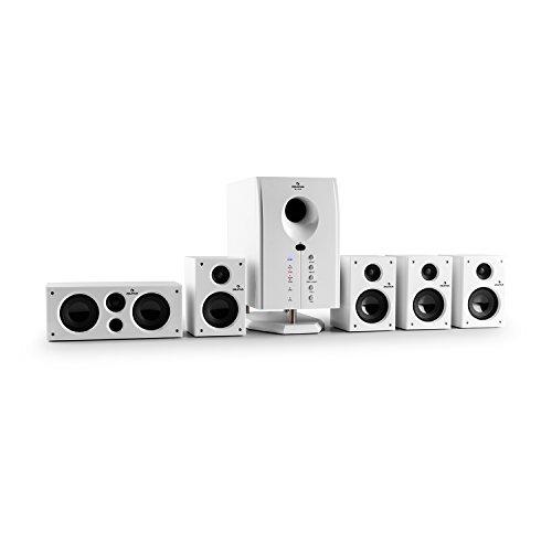 "auna Areal 525 WH - Sistema de Sonido Envolvente 5.1 , Home Cinema , Surround , 125 W RMS , Subwoofer Activo Mono 5,25"" , Bass Reflex , 5 Altavoces satélite , AUX , Apagado automático , Blanco"