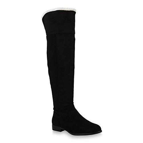 Damen Schuhe Stiefel Warm Gefütterte Overknees Langschaftstiefel 153786 Schwarz Black Carlet 36 Flandell