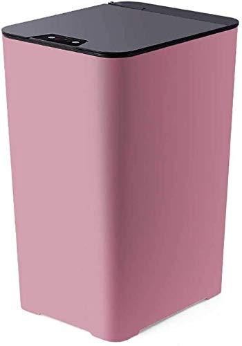 Bote de basura, bote de basura cuadrado con sensor de movimiento sin contacto de 15 litros, sellado, desodorante, silencioso, protección ambiental PP, para dormitorio, baño y cocina,Pink