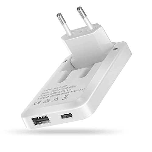 ELECJET Cargador de Pared Delgado y Plano USB C y USB A | Tapón Plegable | Adaptador para Viajes | PD QC 3.0 | iPhone 12/11 / X / 8, iPad Pro, Samsung S21 S20 Note 20 10 Ultra Plus, Nintendo Switch