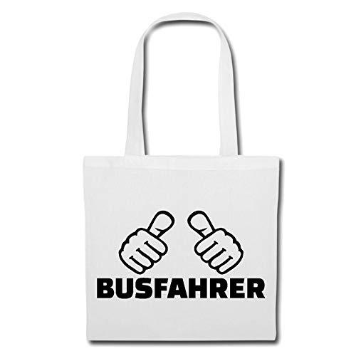 Tasche Umhängetasche Busfahrer - BUSFAHRERIN - REISEBUS - FERNBUS - LINIENBUS Einkaufstasche Schulbeutel Turnbeutel in Weiß