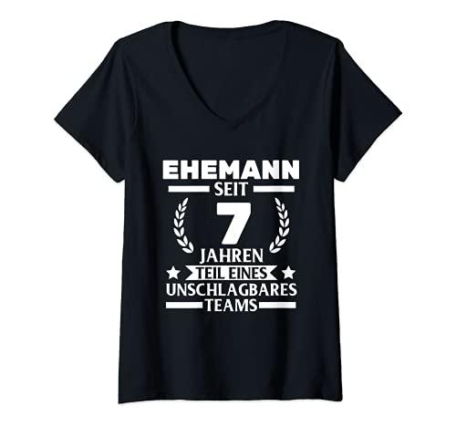 Damen 7. Hochzeitstag Kupferhochzeit 7 Jahre Ehe T-Shirt mit V-Ausschnitt
