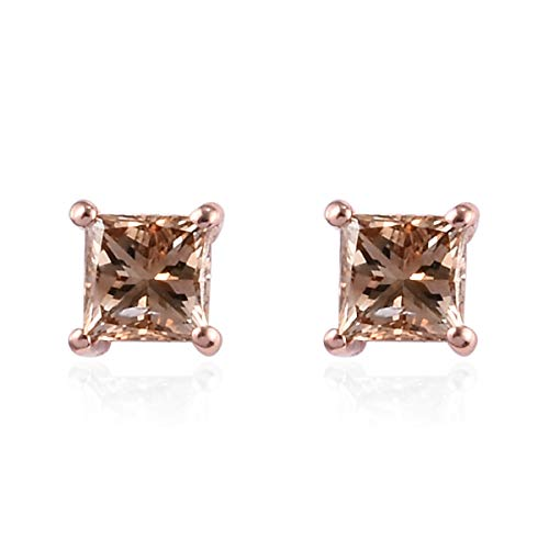 TJC Champagne Diamond I3 Solitaire Stud Earrings for Womens Birthday Gift/Anniversary Gift in 9ct Rose Gold SGL Certified April Birthstone, TCW 0.5ct.