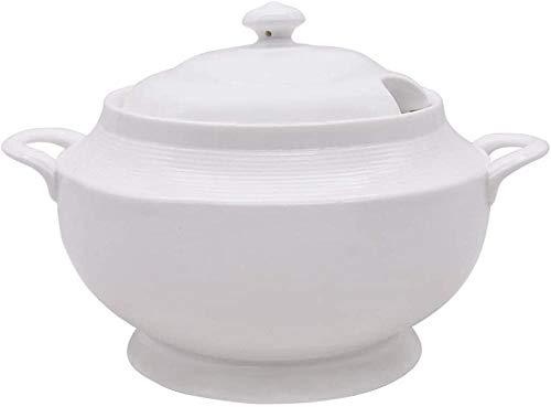 Maceta de cerámica redonda de doble mango; de color blanco, de cerámica con fuego abierto, 2 litros para cocina