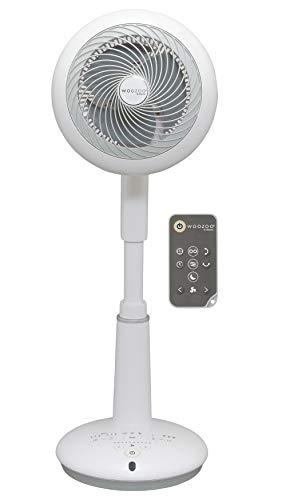Iris Ohyama, Ventilatore a stativo oscillante potente e ultra silenzioso, motore DC Jet e telecomando - Woozoo - STF-DC15T, bianco / nero, 43 M2, 25 W, 31 m