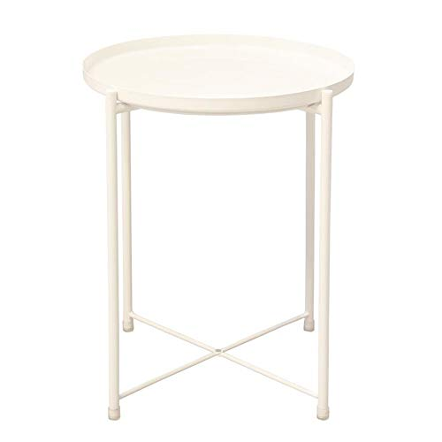 JCNFA planken bank zijtafel koolstofstaal frame kleine salontafel woonkamer multifunctionele ronde thee tafel smeedijzer, 3 kleuren 17.32 * 17.32 * 20.47in Kleur: wit
