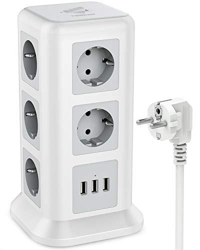 TESSAN 11 Fach Steckdosenleiste (2500W/10A) 3 USB Mehrfachsteckdose mit Schalter, Mehrfachstecker Steckerleiste Überspannungsschutz verteilersteckdose Stromverteiler für Zuhause Büro, 2M, Weiß