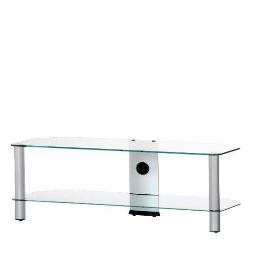 Sonorous NEO-2130 TG Meuble TV 2 étagères Verre transparent/châssis de couleur grise. Largeur : 130 cm.