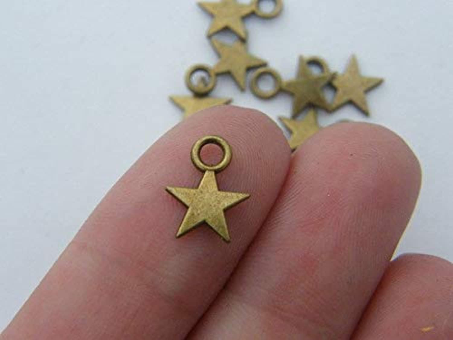 Bulk 50 Star Charms Antique Bronze Tone BC267 B0799RD8JJ | Marke