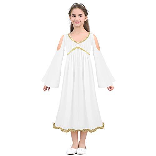 Nimiya Kinder Mädchen Griechische Göttin Kleider V-Ausschnitt Schulterfrei Maxi Kleid Engel Verkleidung Karneval Fasching Festzug Weiß 8-10 Jahre