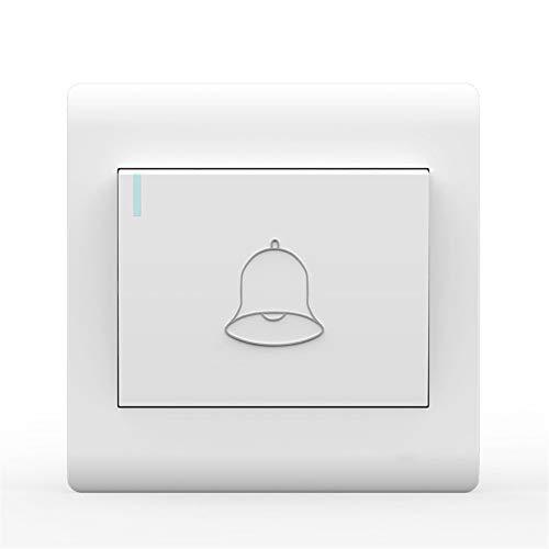 Foicags Interruptor de botón de la puerta Interruptor de autoajuste automático Interruptor de Rocker del hogar 86 Interruptor de timbre incrustado oculto con luz indicadora fluorescente