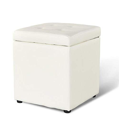 Yxsd Taburete de cuero creativo de moda, taburete de almacenamiento, taburete de salón, taburete de habitación, 13.8 pulgadas x 11.8 pulgadas x 11.8 pulgadas (color blanco)