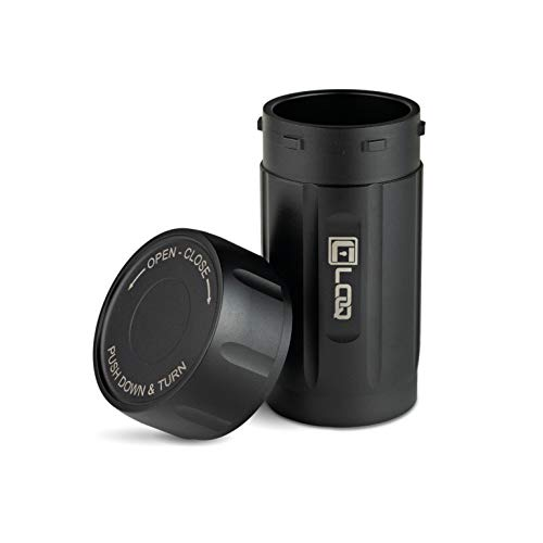 Canniloq  120cc Onyx Black - Aircraft Grade Aluminum Odor Smell Proof Container and Airtight Locking Stash Jar for Herbs, Coffee, Spices, Tea and Other Dry Goods