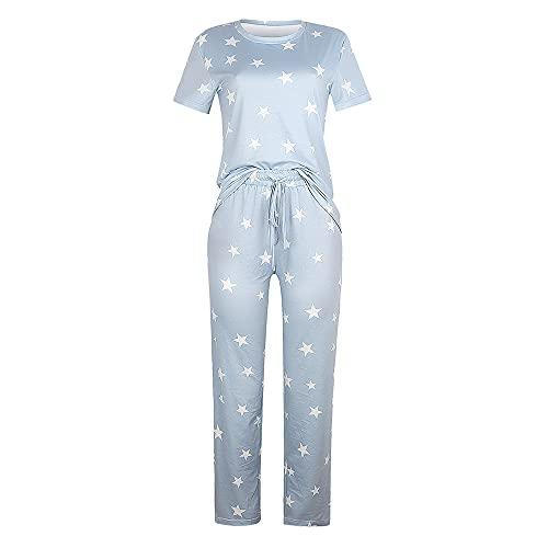 PRJN Conjuntos de Pijamas para Mujer, 2 Cubos de Manga Larga, Top y pantalón, Ropa de Dormir para Damas, Pijamas, Conjuntos de Pijamas para Mujeres, Conjuntos de Pijamas para Mujer, Ropa de Dormir