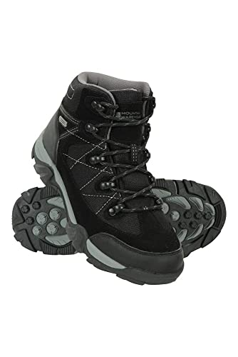 Mountain Warehouse Rapid Kids Boots - Waterproof Rain Boots, Durable Outsole Childrens Shoes, Mesh Upper Hiking Boots, Ankle Padding Boots - for Walking, Travelling Black Kids Shoe Size 3 UK
