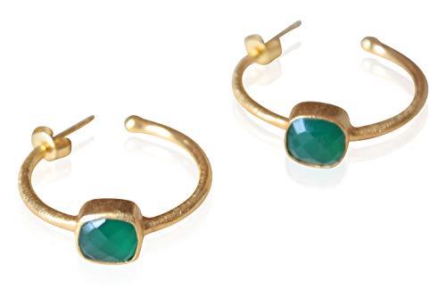 Aros bañados en Oro 18K con piedra natural Onix - Pendientes con Onix Verde - Aros dorados para mujer