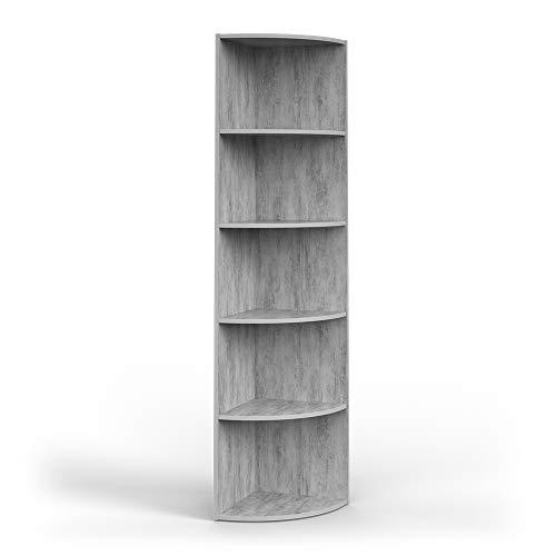 Vicco Scaffale angolare Ecki Libreria Cemento 5 scomparti Scaffalatura bagno