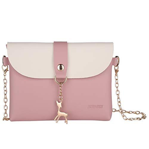 Lanling Kleine Crossbody Geldbörse für Frauen,Leder Umhängetasche Hirsch Crossbody Frauen Handtasche kleine Geldbörse Telefon Tasche für Mädchen (Pink-Gold Chain)