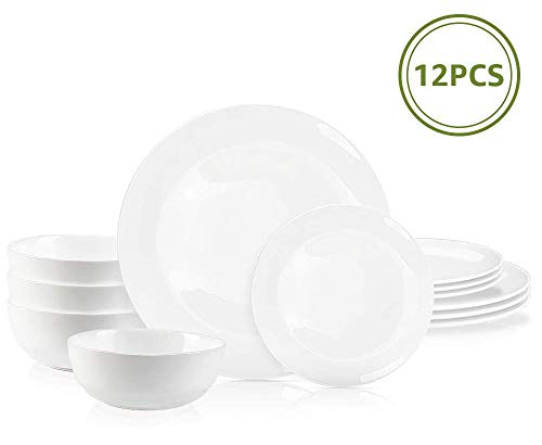 DANMERS 12-Piece Dinnerware Set White Dinner Sets Service for 4, 10.5' Dinners Plates, 7.5' Bread Plates and 5.5' Cereal Bowls Set Break and Crack Resistant