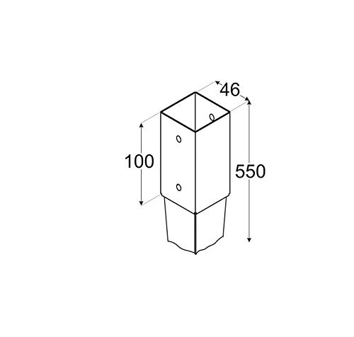 Bodenhülse Einschlagbodenhülse Einschlaghülse Pfostenträger 4,6x55cm
