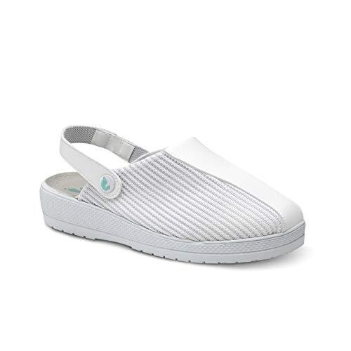Feliz Caminar/Zuecos Sanitarios Marin (Naturfly) / Correa Unisex Antideslizantes Cómodos Hombre y Mujer. Zapatillas de Estar por Casa/Blanco 40