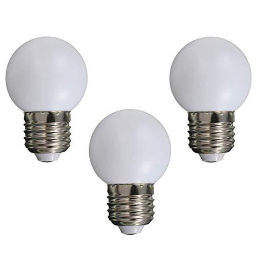 Ogquaton Premium Qualität 3 Stück E27 Schraubsockel 1 Watt LED Golfball Glühbirne Globus Lampe für Urlaub Party Dekoration 220 V-Warmweiß
