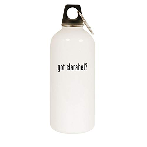 got clarabel? - 20oz Stainless Steel White Water Bottle with Carabiner, White