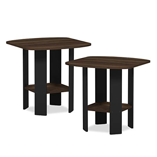 FURINNO Simple Design 2-Pack End Side Table, Columbia Walnut/Black