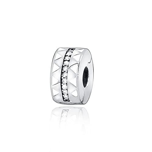 Pandora 925 colgantes de plata esterlina Diy cuentas brillantes líneas dentadas Clip encantos se ajustan a pulseras originales joyería de mujer
