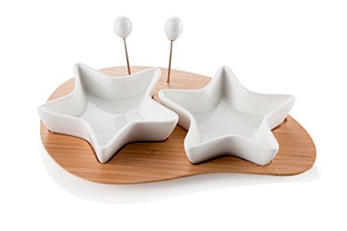 Brandani 55202 Coupelle Antipasti Stelle et Support Porcelaine/Bambou