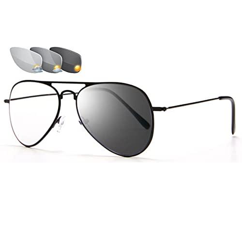 LGQ Gafas de Lectura fotocromáticas Unisex progresivas multifocales Anti luz Azul Lector de computadora HD Gafas de Sol al Aire Libre,Negro,+1.00