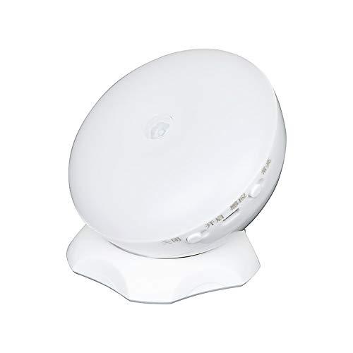 Huguo Lámpara Nocturna del Sensor de Movimiento Inteligente de 360 ° LED AAA batería y Carga USB para el Rayo de Brillo Largo del hogar Warm White Light