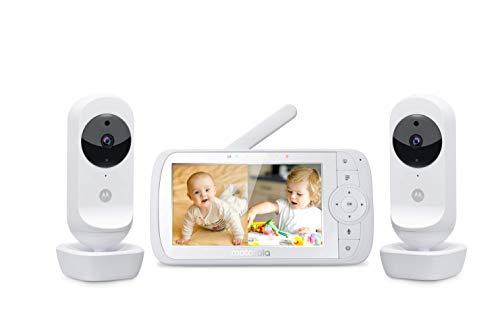 Motorola Ease 35-2 - Babyphone mit 2 Kameras - 5,0 Zoll Video Baby Monitor HD Display - Anzeige im geteilten Bildschirm - Nachtsicht, Zwei-Wege Kommunikation, Wiegenlieder, Zoom, Raumtemperatur - Weiß