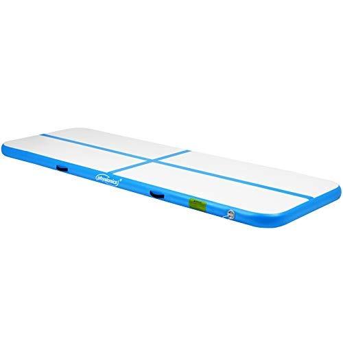 Physionics Track - aufblasbar, mit elektrischer Luftpumpe, PVC, Air, Farbwahl, Größenwahl: 3 4 5 6 7 8 m - Gymnastikmatte, Tumbling Matte, Trainingsmatte, Fitnessmatte (Blau, 300x100x10 cm)